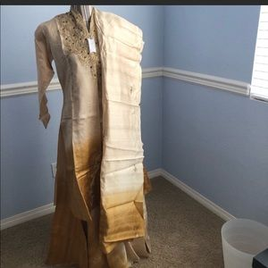 Indian jacket lehenga raw silk Gold with Zari work
